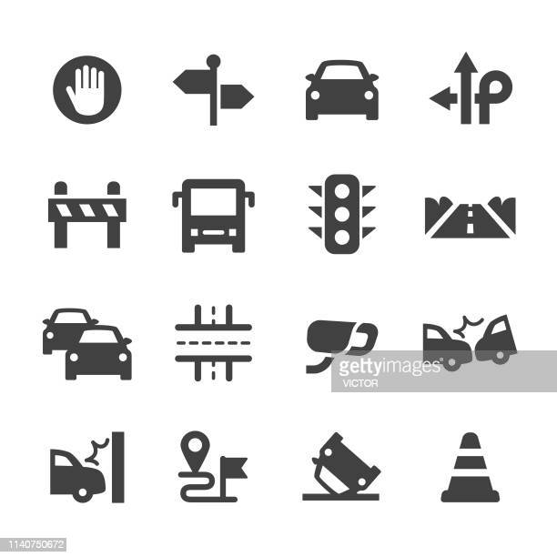 traffic icons - acme series - road intersection stock illustrations