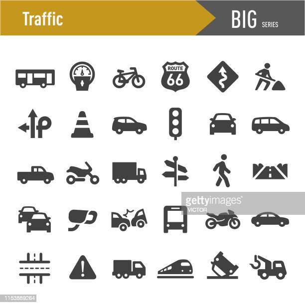 illustrazioni stock, clip art, cartoni animati e icone di tendenza di traffic icons - big series - parte di una serie