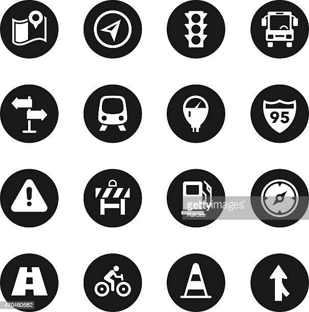 traffic icons - black circle series - parking meter stock illustrations