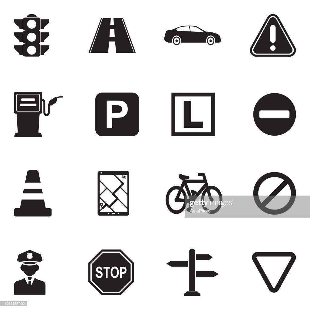 Traffic Icons. Black Flat Design. Vector Illustration.