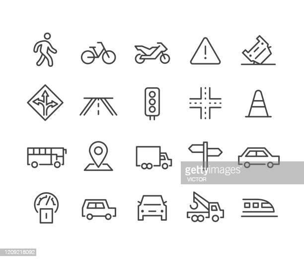 stockillustraties, clipart, cartoons en iconen met verkeerspictogrammen - classic line series - vervoer