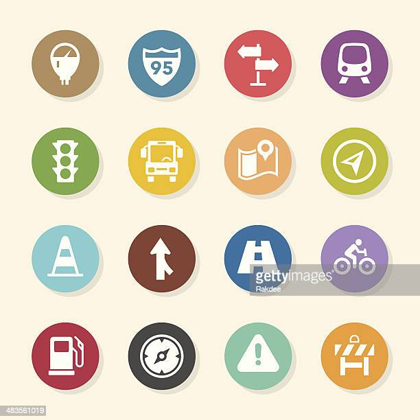 traffic icons - color circle series - parking meter stock illustrations