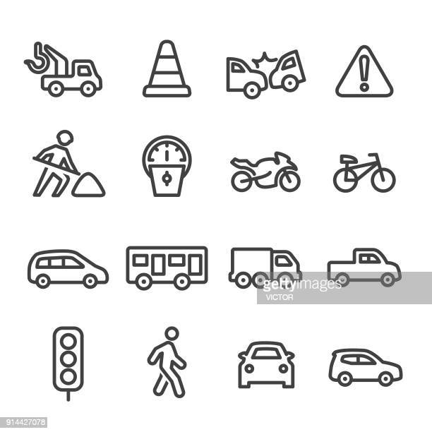 illustrazioni stock, clip art, cartoni animati e icone di tendenza di traffic icons - line series - parte di una serie