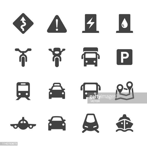 traffic icons set - acme series - commercial land vehicle stock illustrations