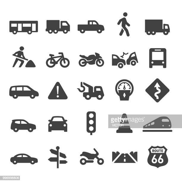 traffic icons - smart series - commercial land vehicle stock illustrations