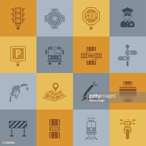 traffic icons - road intersection stock illustrations