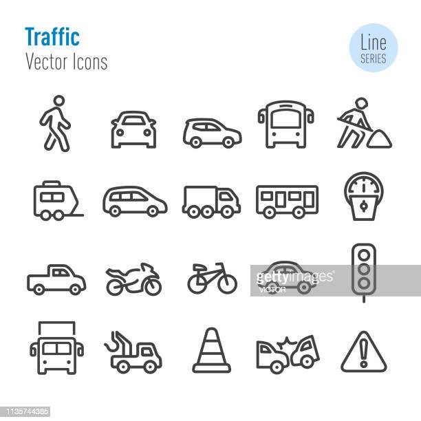 illustrazioni stock, clip art, cartoni animati e icone di tendenza di traffic icons - vector line series - parte di una serie
