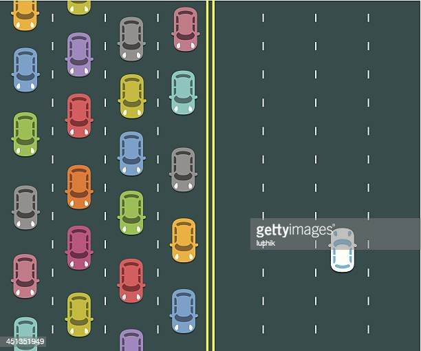 traffic jam on a highway - traffic stock illustrations