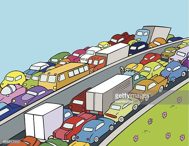 Traffic Jam on Highway with Cars and Trucks