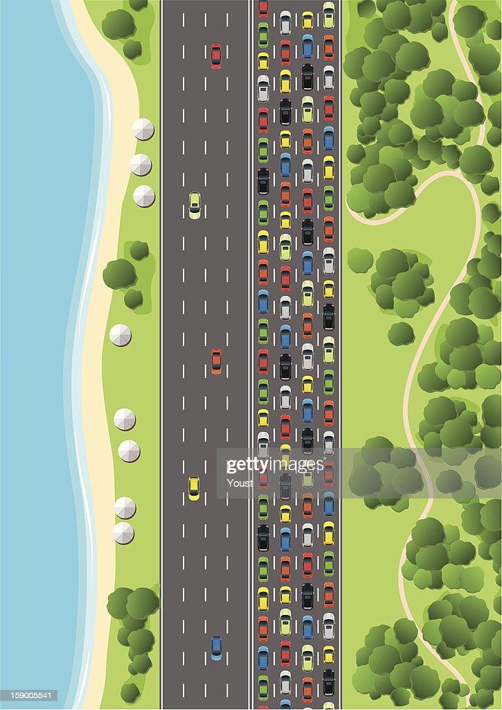 Traffic Jam on Multiple Lane Highway : stock illustration