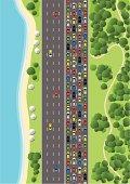 Traffic Jam on Multiple Lane Highway