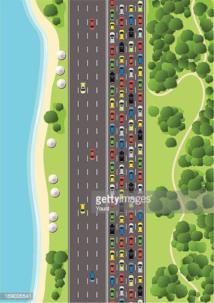 traffic jam on multiple lane highway - traffic stock illustrations