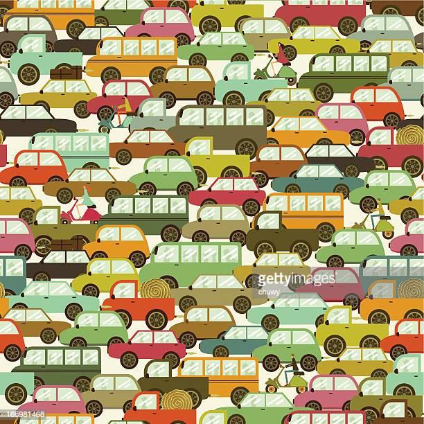 ilustraciones, imágenes clip art, dibujos animados e iconos de stock de traffic jam patrón perfecto. - chuwy