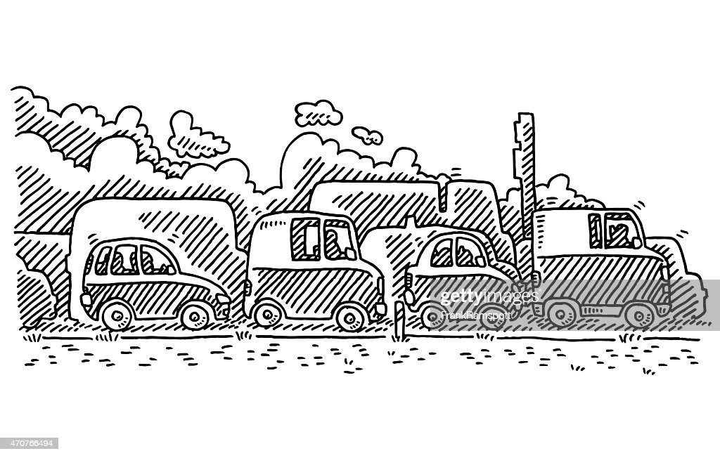 Traffic Jam Side View Drawing Vector Art