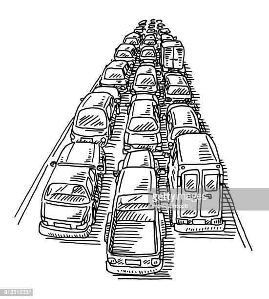 traffic jam three lane highway drawing - traffic stock illustrations