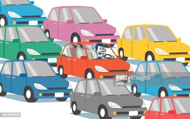 traffic jam - queuing stock illustrations