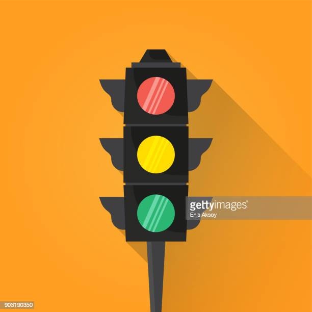 traffic light flat icon - stoplight stock illustrations