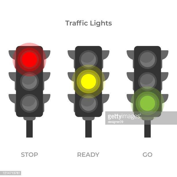 traffic light icon flat design on white background. - stoplight stock illustrations