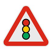 Traffic light icon, flat style.