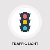 Traffic light icon flat
