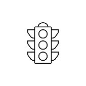 Traffic light line icon, stop light and navigation