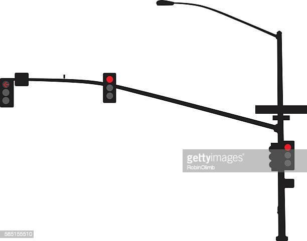 traffic light silhouette - pole stock illustrations