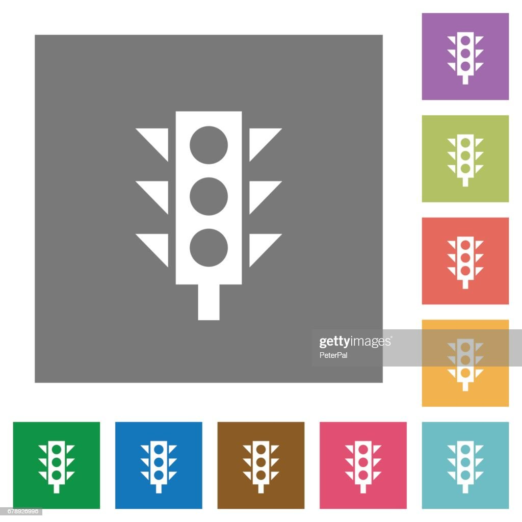 Traffic light square flat icons