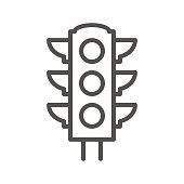 Traffic light thin line vector icon