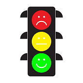 Traffic light with red, yellow and green smileys