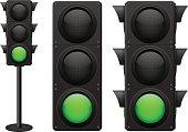 Traffic lights. Green light on
