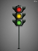 Traffic lights isolated on a transparent background