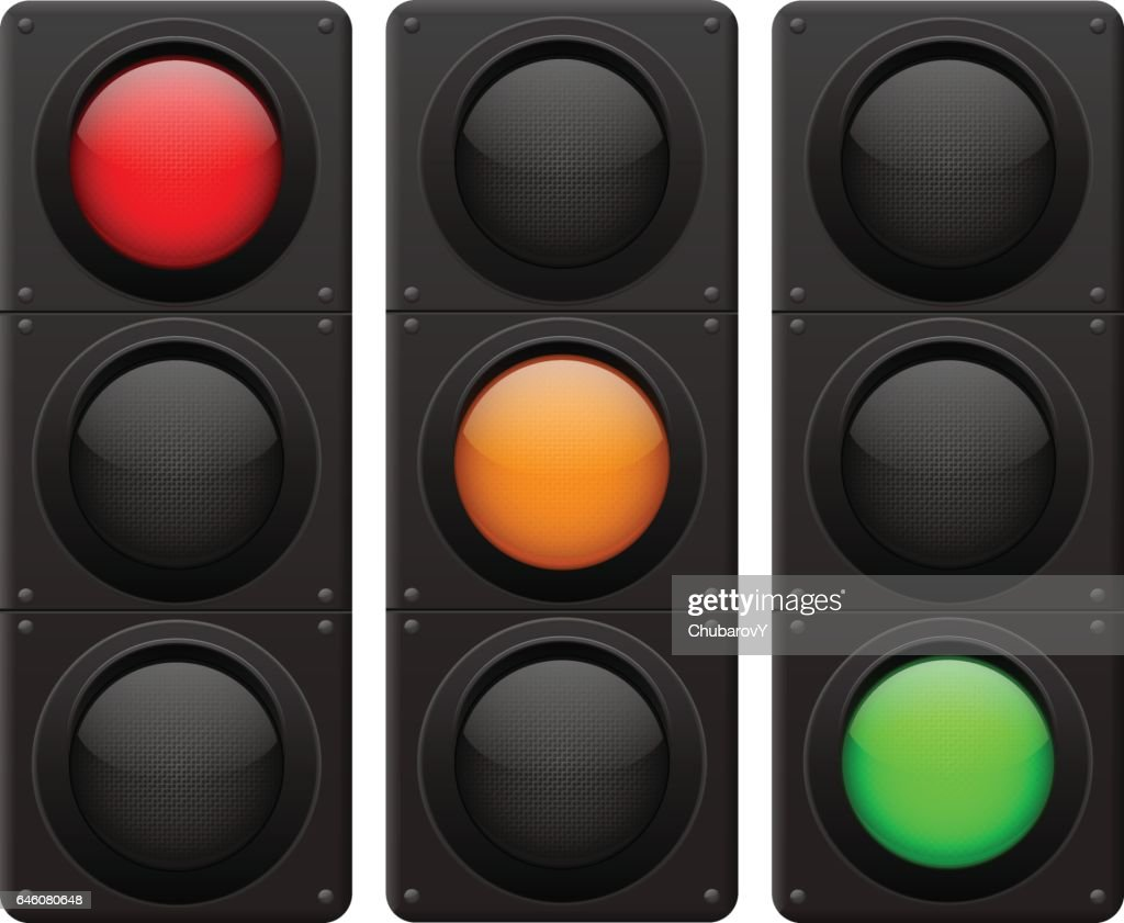Traffic lights. Red, yellow, green lamp on