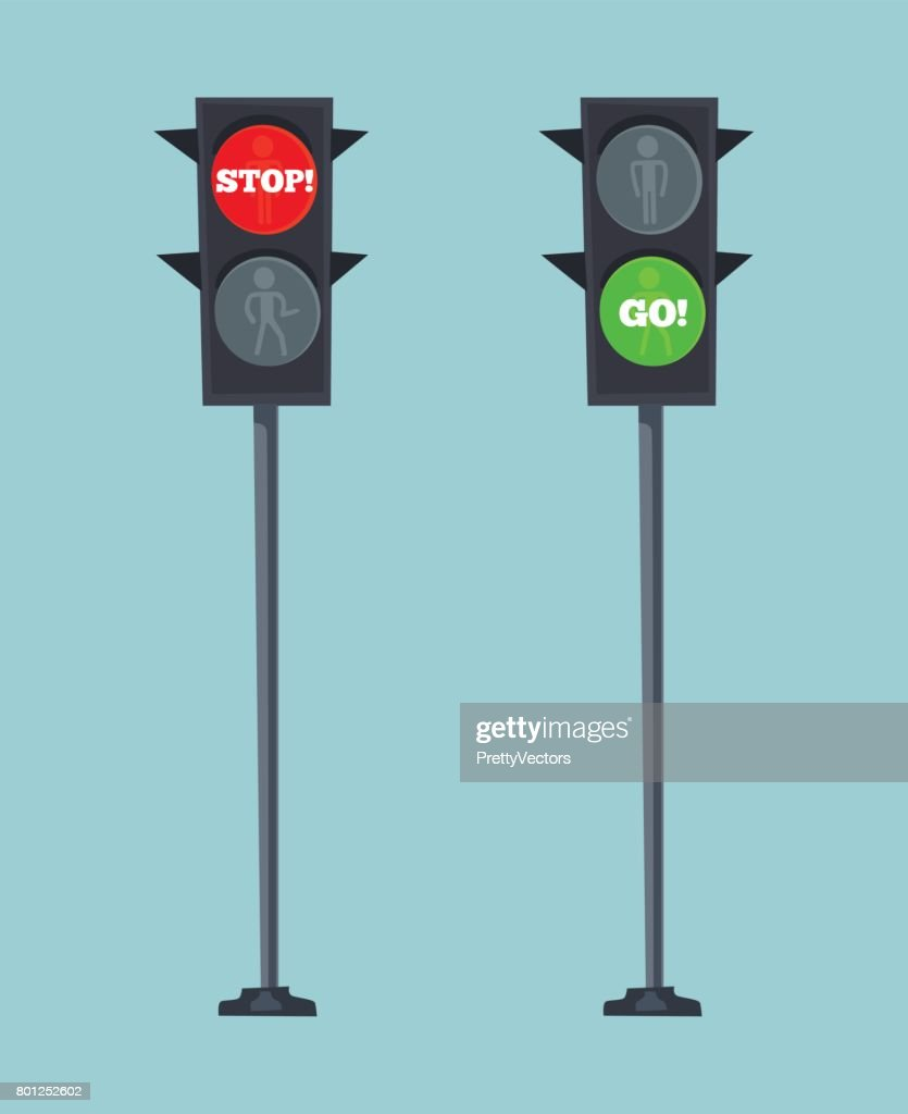Traffic lights stop red and go green sign
