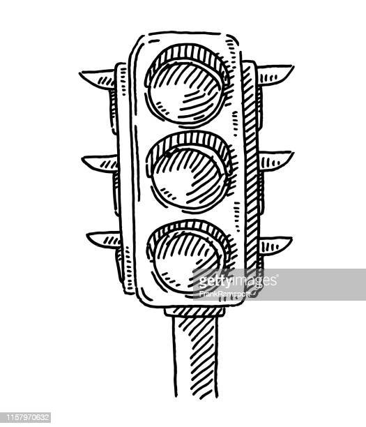 traffic lights symbol drawing - stoplight stock illustrations