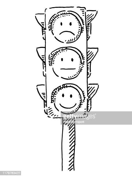 traffic lights with emoticon smileys drawing - stoplight stock illustrations