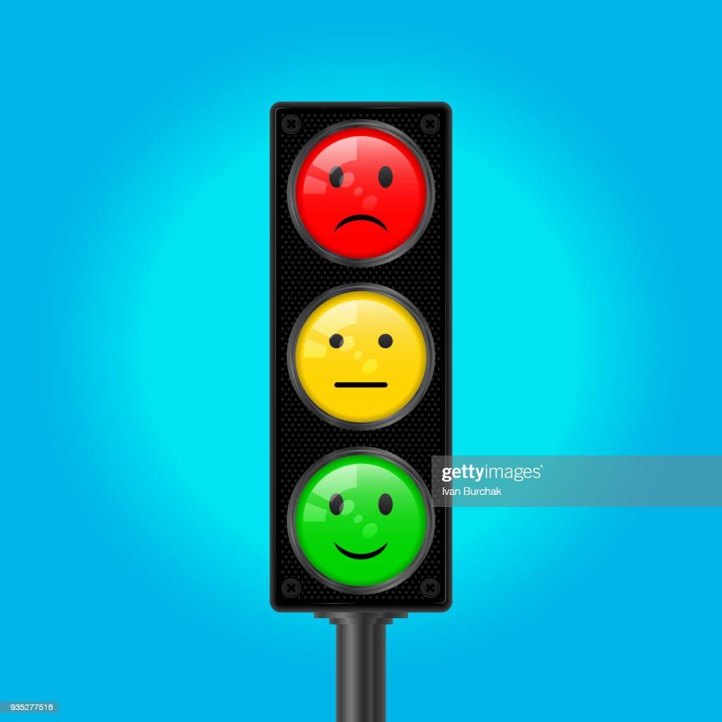Traffic Lights with Emoticons, Vector Illustration