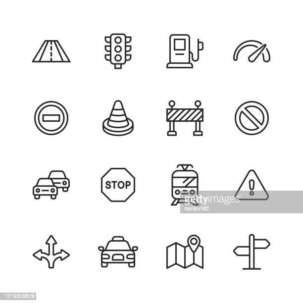 ilustrações, clipart, desenhos animados e ícones de ícones da linha de tráfego. curso editável. pixel perfeito. para mobile e web. contém ícones como estrada, semáforo, velocímetro, sinal de pare, cone de tráfego, carro, veículo, sinal de aviso, mapa, navegação, táxi, posto de gasolina, bonde. - placa