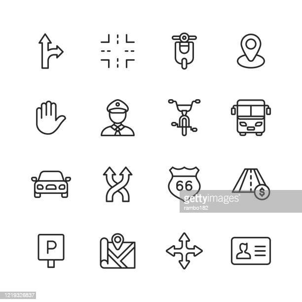 traffic line icons. editable stroke. pixel perfect. for mobile and web. contains such icons as intersection, motor, scooter, policeman, road, bicycle, bus, car, vehicle, highway, traffic sign, parking sign, navigation, map, driving license, stop sign. - road marking stock illustrations