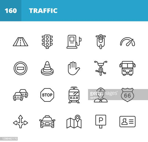 traffic line icons. editable stroke. pixel perfect. for mobile and web. contains such icons as road, traffic light, speedometer, stop sign, traffic cone, car, vehicle, warning sign, map, navigation, taxi, gas station, tram. - parking sign stock illustrations