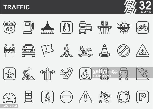 traffic line icons - zebra crossing stock illustrations