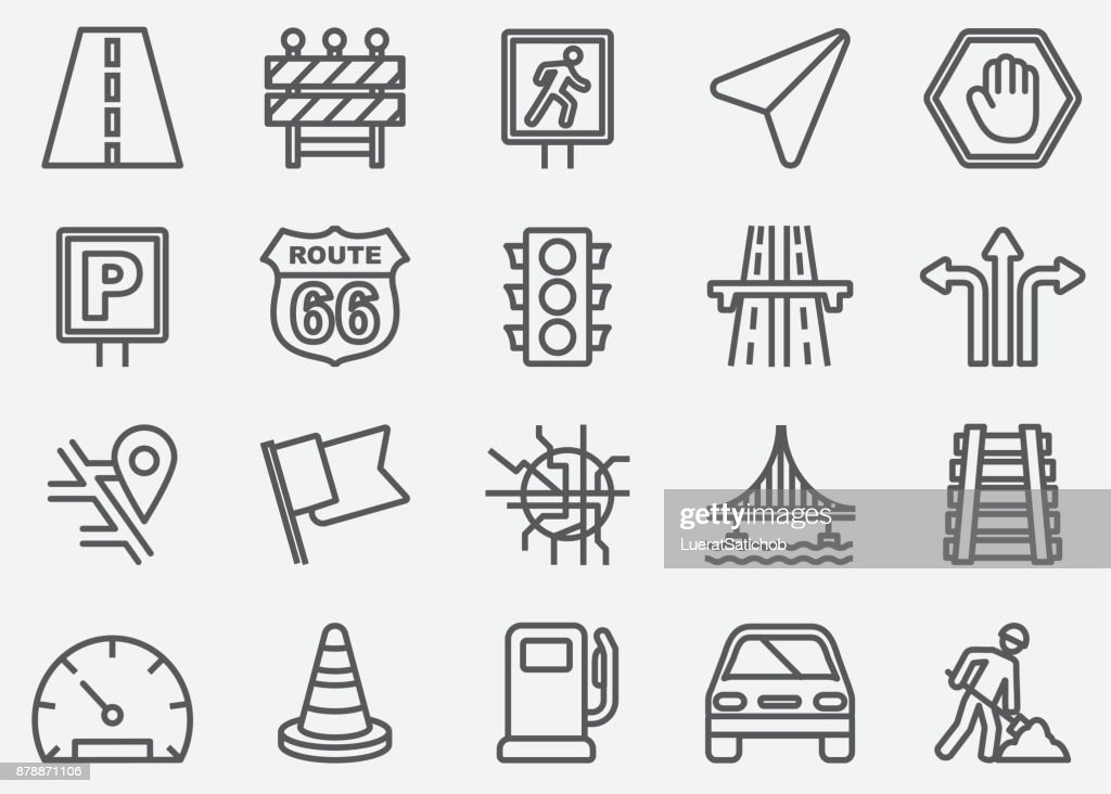 Traffic Line Icons : stock illustration