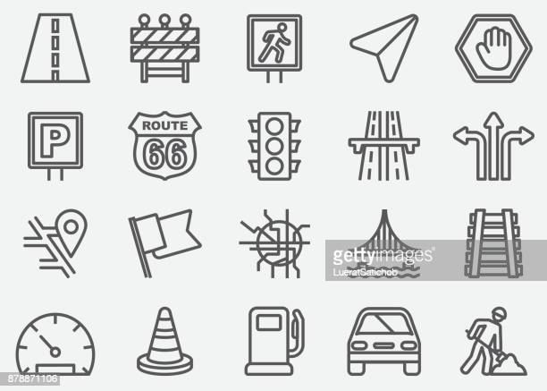 traffic line icons - stoplight stock illustrations