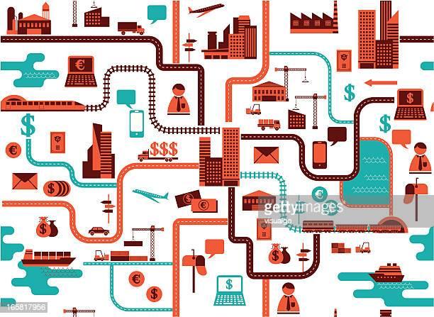 der karte - gewerbegebiet stock-grafiken, -clipart, -cartoons und -symbole