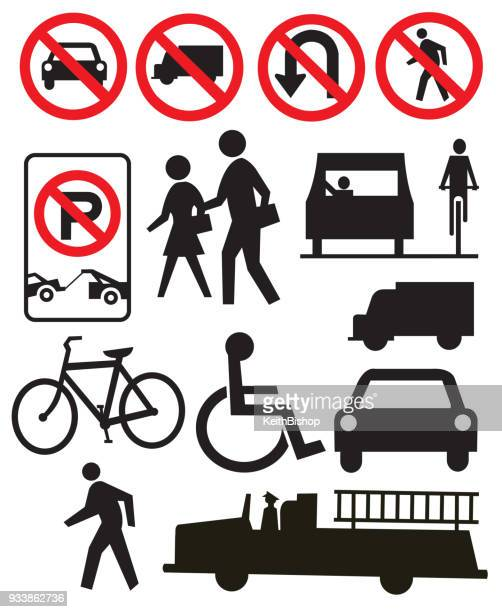 traffic or street sign icons - pedestrian stock illustrations