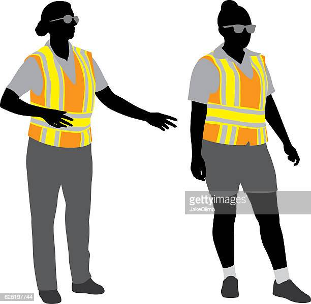 traffic police silhouettes - waistcoat stock illustrations, clip art, cartoons, & icons