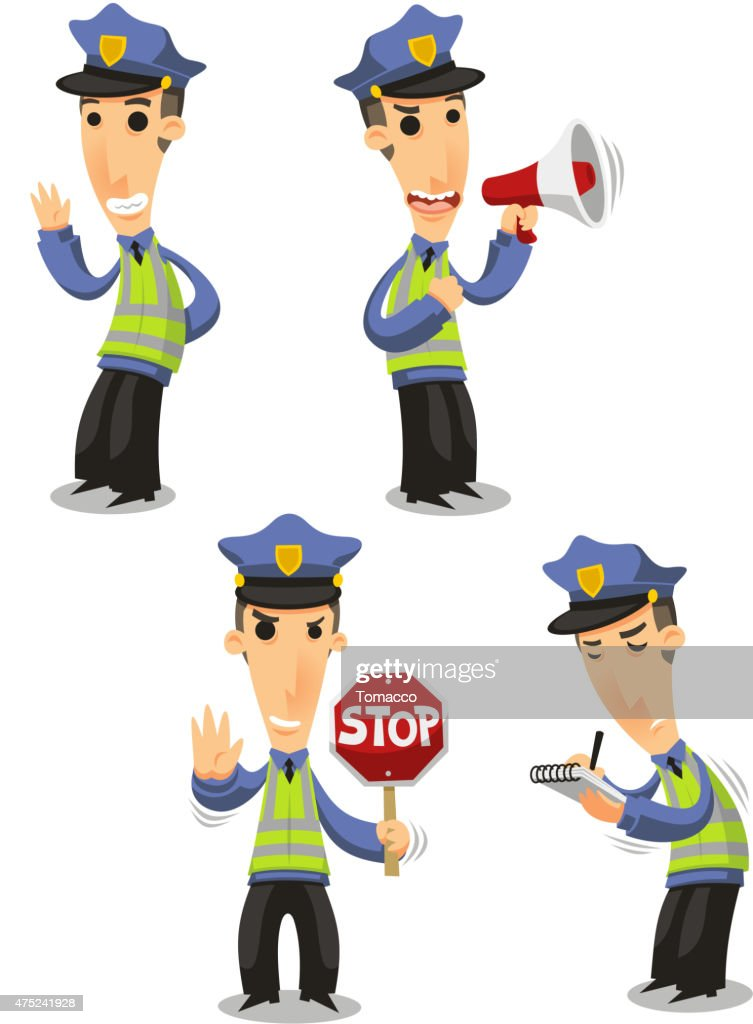 Traffic Police with megaphone, stop sign and tickets