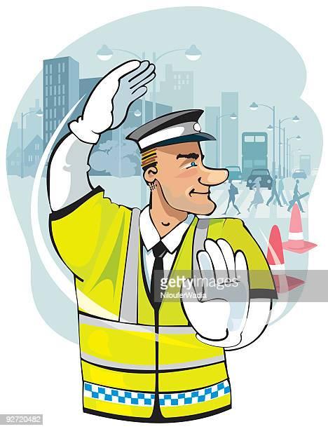verkehr polizist-englisch - verkehrswarnung stock-grafiken, -clipart, -cartoons und -symbole