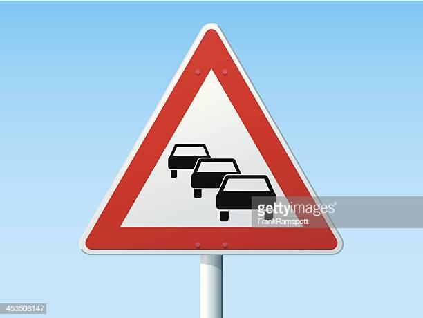 Traffic Queues German Warning Sign