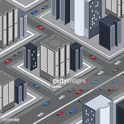 Traffic road and city skyscrapers