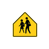 USA traffic road sign. school advance warning,you're entering a school zone . vector illustration